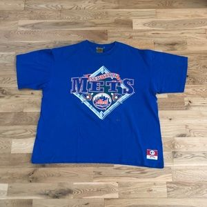 Vintage 90's New York Mets Nutmeg MLB Blue T-Shirt